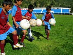 Football players in Peru