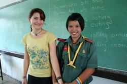 Teaching volunteer and student